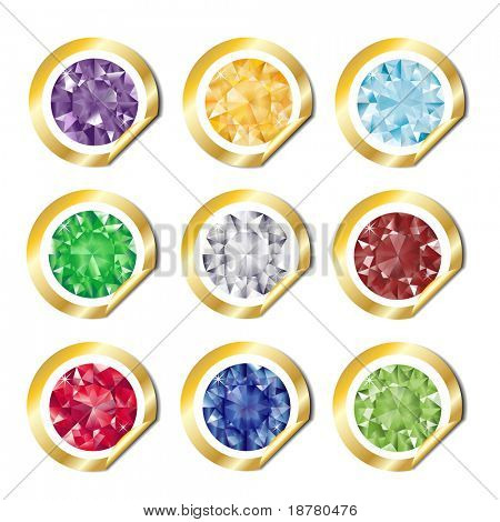 A collection of jewels on gold stickers. Also available in vector format