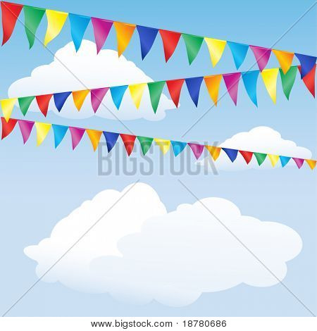 Strings of bunting against sky. Space for your text. Also available in vector format