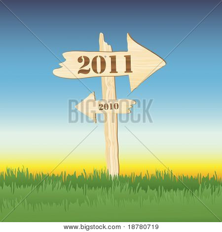 A wooden sign showing the way to 2011 from 2010. Sun setting on 2010 concept. Fully editable EPS10 vector format.