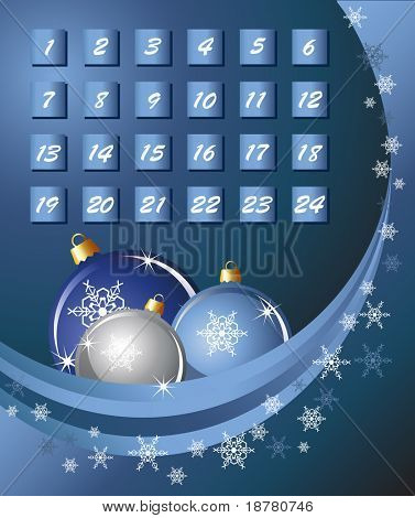An Advent calender. Blue abstract background with Christmas Baubles and snowflakes. Also available in vector format.