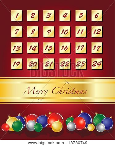 An elegant Advent calendar, Christmas baubles on red with gold ribbon. EPS10 vector format.