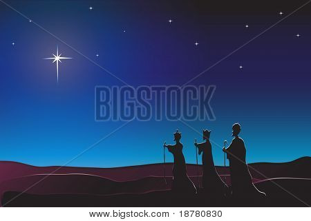The Three Kings follow the star in the East to Bethlehem. Nativity scene. Also available in vector format. Space for text.
