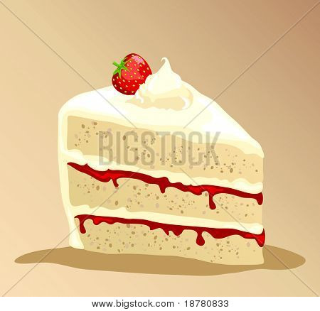 A slice of rich strawberry gateau with fresh whipped cream. EPS10 vector format.