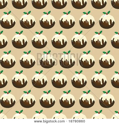 A seamless design of Christmas puddings with brandy butter. EPS10 vector format.