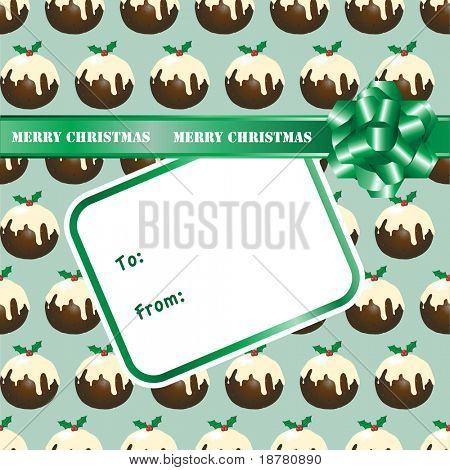 A seamless background of Christmas puddings with a gift bow and label. Space for your text. Also available in vector format.