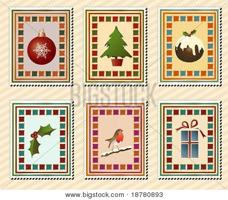 A set of vintage Christmas stamps. EPS10 vector format.