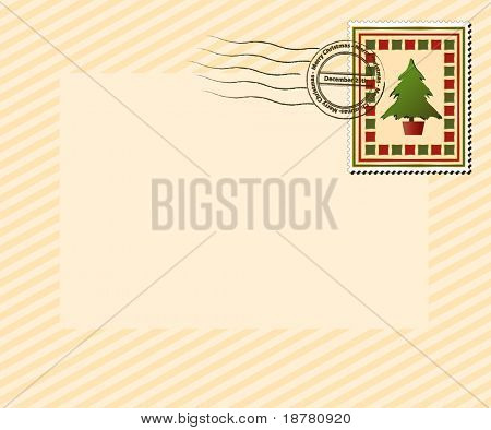 """A vintage style Christmas stamp with """"Merry Christmas, December 25th' post mark. EPS10 vector format with space for your text."""