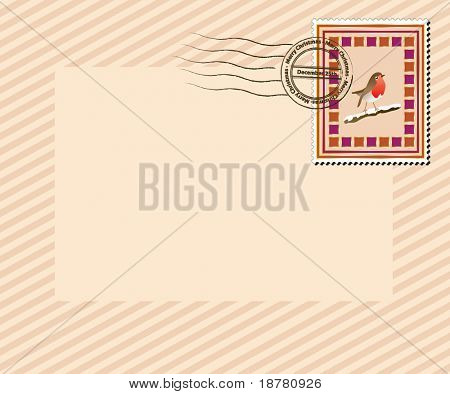 "A vintage style Christmas stamp with ""Merry Christmas, December 25th' post mark. EPS10 vector format with space for your text."