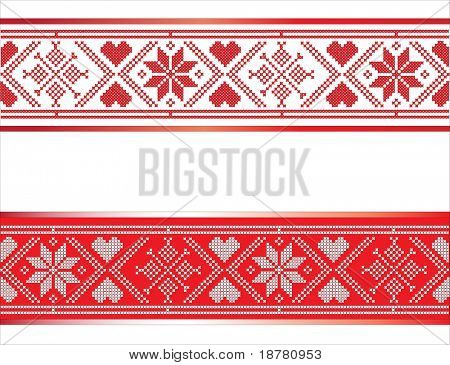 Festive Scandinavian style ribbons with hearts and snowflakes. Traditional red and white design with space for text. EPS10 vector format.