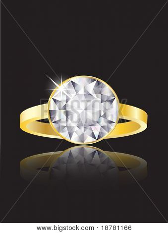 An illustration of a diamond ring on black background with reflection. Also available in vector format.