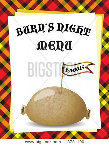 A menu template for a 'Burn's Night' dinner. Traditional haggis on Tartan background. EPS10 vector format.