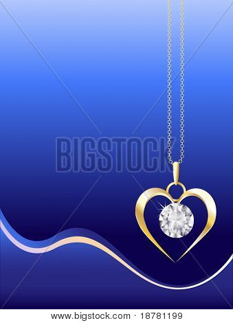 A gold and diamond necklace on abstract blue background. Space for your text. EPS10 vector format.