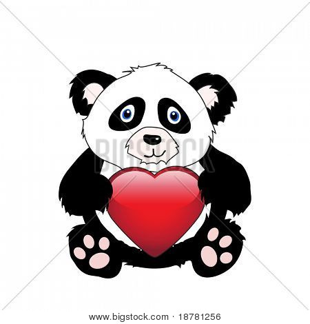 A cute cartoon panda holding a glossy heart isolated on white. Also available in vector format. Space for your text
