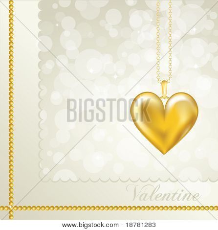 A Valentine card with a gold heart locket. Neutral background colour. Fully editable EPS10 vector format with space for your text.