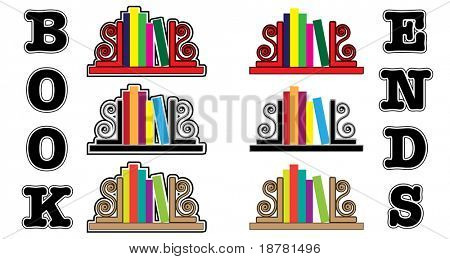 Stylized icons of books with bookends. EPS 10 vector format