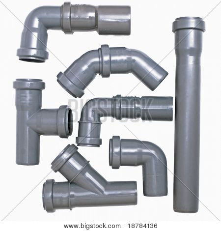 Set of sewer pipes on a white background