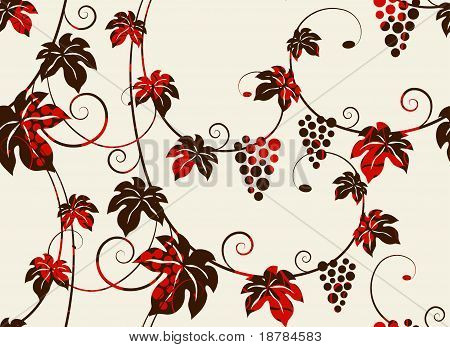 Seamless grape vines background.