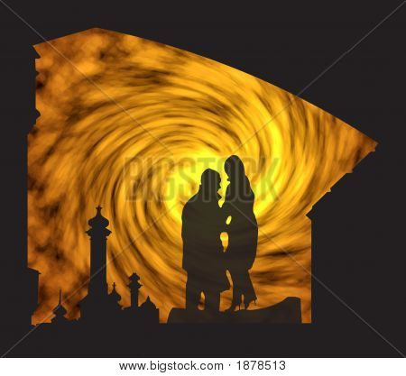 Silhouette Of The Girl And The Young Man
