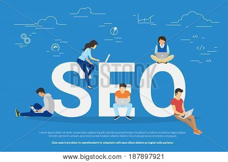 poster of SEO concept vector illustration of people using laptops for developing and optimizing website or mobile app. Flat modern design of young programmers coding a new project and analysing search engine