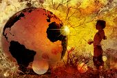 foto of planet earth  - young child in nature with 3d globe - JPG