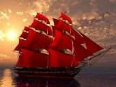 image of sloop  - ship in the sea with red sails in sunset - JPG