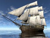 foto of sloop  - sailing ship - JPG