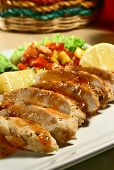 image of baked potato  - grilled chicken breast with mango salsa and baked potatoes - JPG