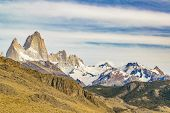 Постер, плакат: Fitz Roy And Poincenot Mountains Patagonia Argentina