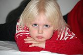 image of pouty lips  - Four year old blond girl with very fair complexion - JPG