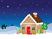 Vector illustration of a gingerbread house snow scene with star filled sky.