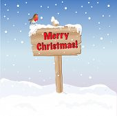 A wooden sign wishing Merry Christmas. EPS10 vector format. Fully editable for insertion of your own