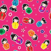 A seamless background of Kokeshi dolls. Also available in vector format.