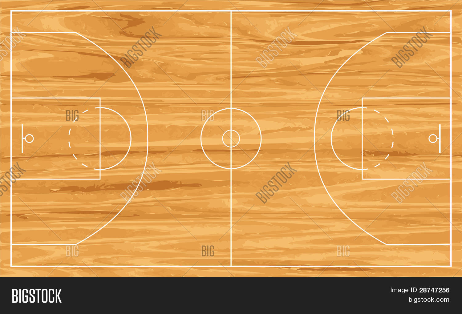 Wooden basketball court vector photo bigstock for How big is a basketball court