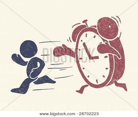 "Vintage conceptual illustration of ""time is running out"