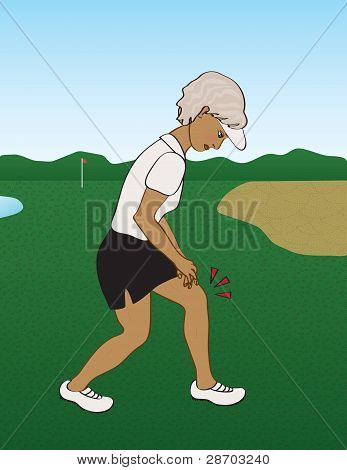 senior golfing woman with knee pain