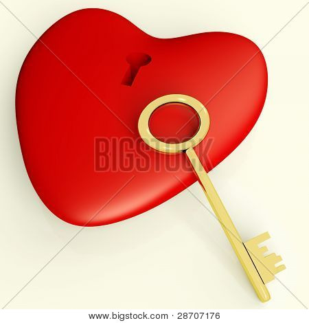 Heart With Key Showing Love Romance And Valentines