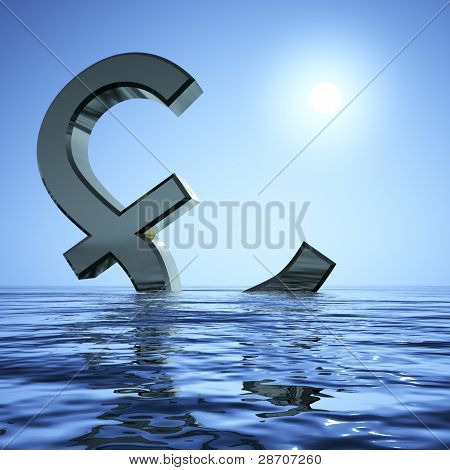 Pound Sinking In The Sea Showing Depression Recession And Econom