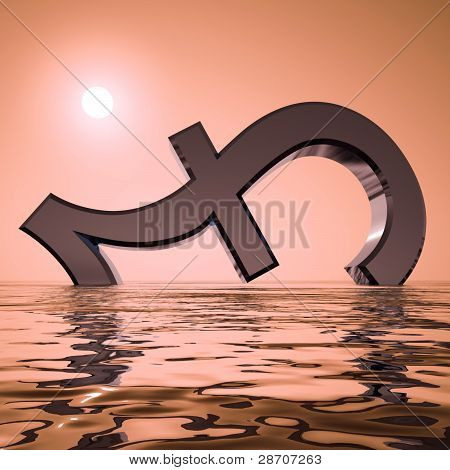 Pound Sinking And Sunset Showing Depression Recession And Econom
