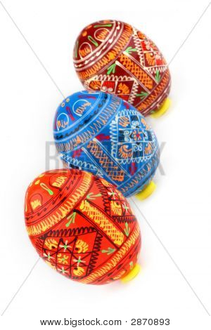 Three Russian Tradition Easter Eggs Diagonally