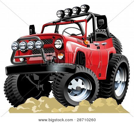 Vector cartoon 4x4 vehicle one-click repaint