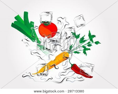 Vegetables In Splash