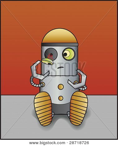 Little Robot with Broken Eye