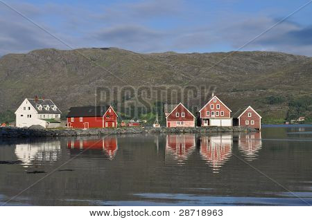 Boathouses by the fjord