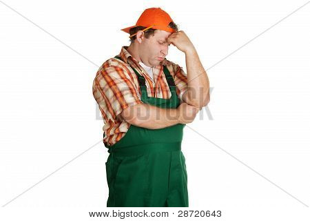 Worker, Dressed In Green Overall