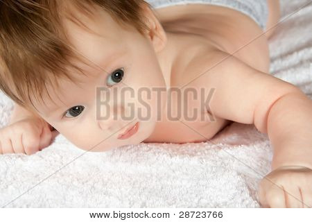 Infant About Two Month Try To Raise Head