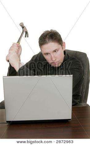 Man Hammers Computer