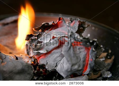 Burned Paper And Fire