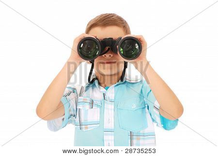 Photo Of An Adorable Boy Watching After Binoculars