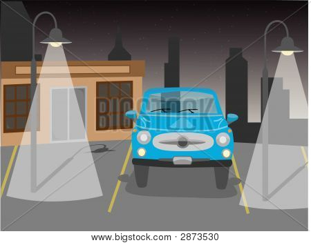 Vector Car In Parking At Night