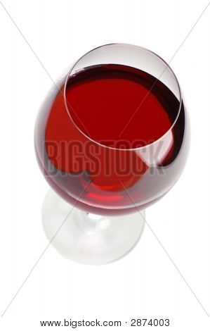 Red Wine Glass On White